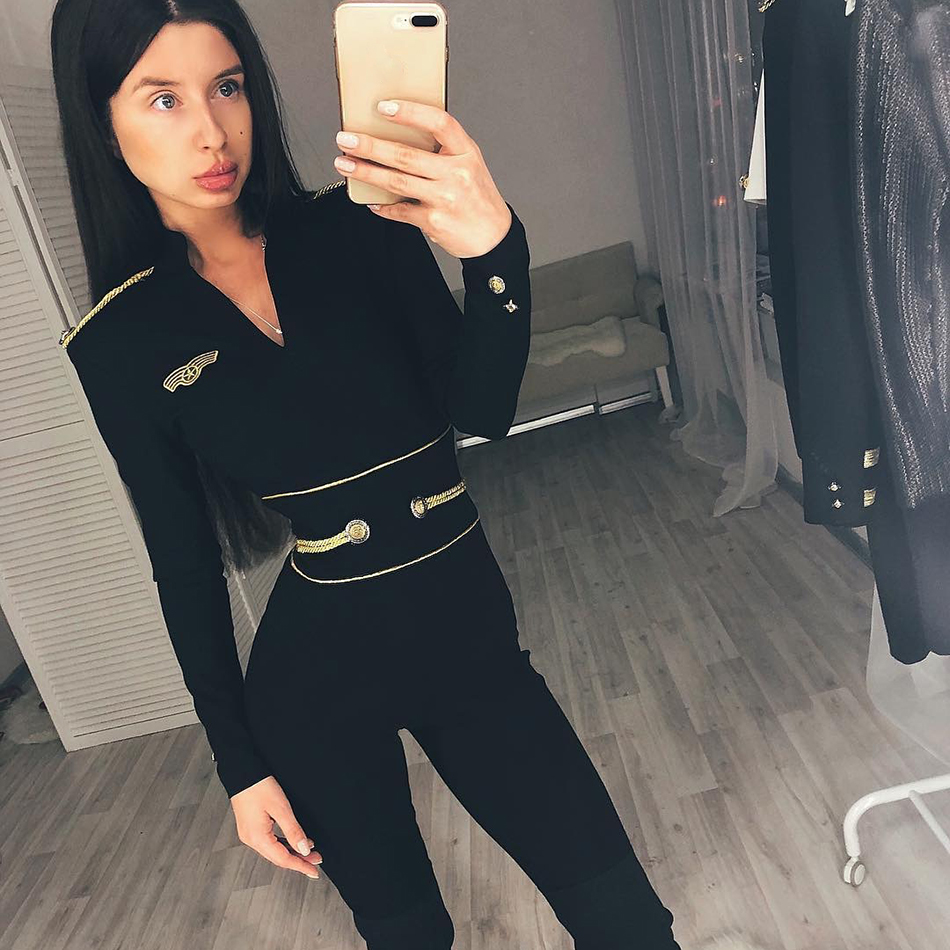 2019 New Autumn Jumpsuits Black Sexy Women Jumpsuits Long Sleeve Long Pants Ladies Overalls Club Evening Party Rompers