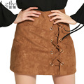 Lztlylzt Spring Autumn Women 2016 Suede Leather Mini Pencil Skirts Plus Size Bandage High Waisted Bodycon A-line Skirt Ladies