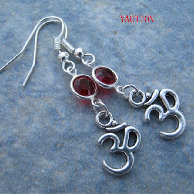 Om Birthstone Earrings Personalized Buddhist Namaste Jewelry Yoga Gift