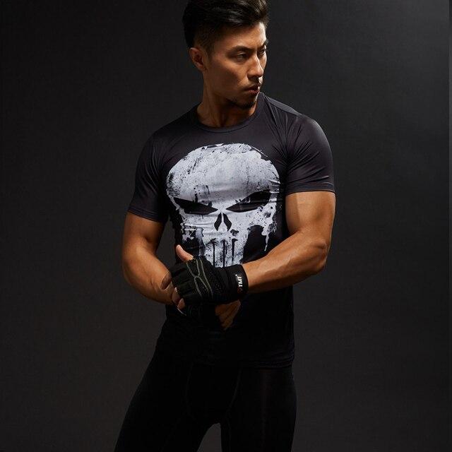 Punisher Gym Sport Short Sleeve T Shirt Men T-Shirt Male Crossfit Tee Captain America Superman tshirt Fitness Compression Shirt  2