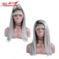 Али удивительные волосы Ombre серый Glueless Синтетические волосы на кружеве человеческих волос парики 130% плотность предварительно выщипать пар