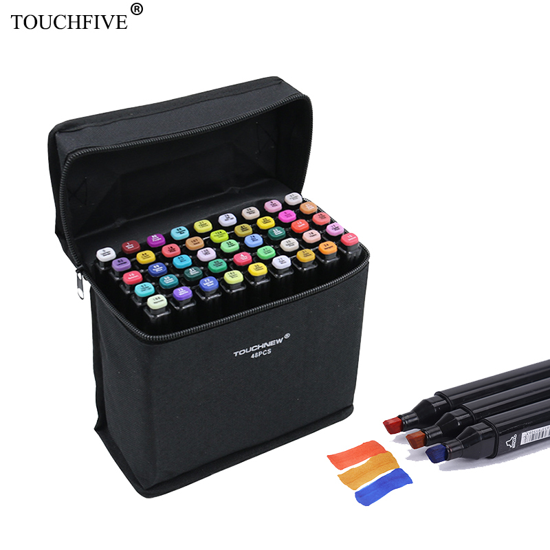 TouchFive Marker 168 Colors Alcoholic oily based ink Marker Set Drawing pen For Manga Dual Headed Art Sketch Markers touchfive marker 60 80 168 color alcoholic oily based ink marker set best for manga dual headed art sketch markers brush pen
