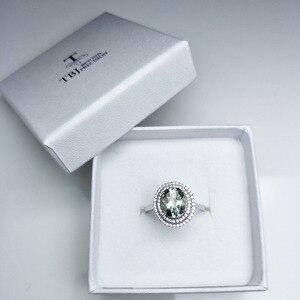 Image 5 - Женское кольцо с аметистом TBJ, Ювелирное Украшение с драгоценным камнем зеленого цвета, в оправе из серебра 100% пробы, для дня рождения