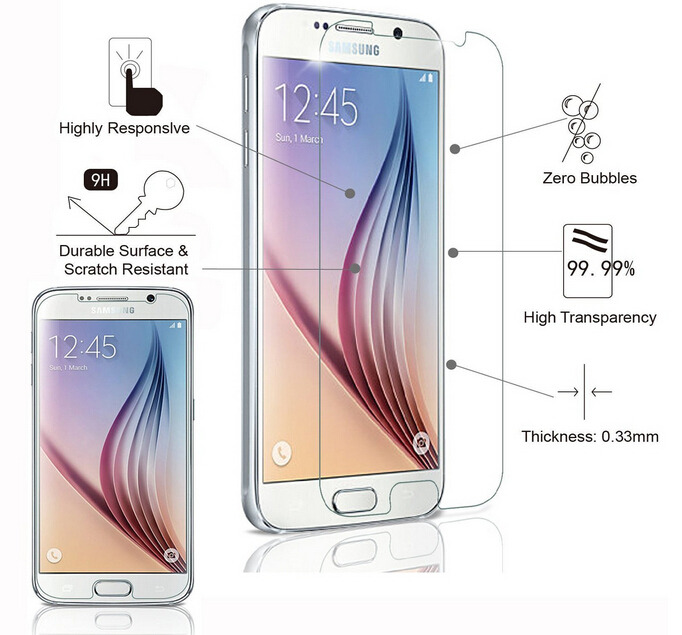 SM-G920F Premium 2.5D 9H ապակեպատ ֆիլմի համար Samsung Galaxy S6 Protection decran verre trempe Garde for Samsung Galaxy S6- ի համար