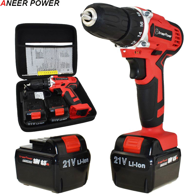 21V Screwdriver Cordless Drill Electric Drill Electric Batteries Screwdriver Power Tools Mini Drill Electric Screwdriver Eu Plug free shipping brand proskit upt 32007d frequency modulated electric screwdriver 2 electric screwdriver bit 900 1300rpm tools