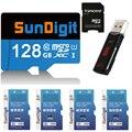 Sundigit de alta velocidade 128 gb 64 gb 32 gb 16 gb micro sd micro sdxc micro Cartão SDHC classe 10 UHS-1 Cartão de Memória TF + leitor de Cartão USB3.0