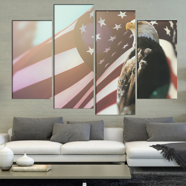 b0b9e96729e Decor Frame Canvas Painting Poster For Living Room 4 Panel Bald Eagle America  Flag Wall Art Home Modern HD Printed Pictures