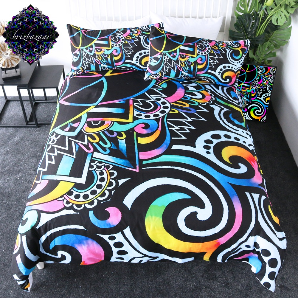 White Doodle Magic by Brizbazaar Bedding Set Mandala Flower Duvet Cover Colorful Bed Set 3-Piece Psychedelic Floral BedspreadsWhite Doodle Magic by Brizbazaar Bedding Set Mandala Flower Duvet Cover Colorful Bed Set 3-Piece Psychedelic Floral Bedspreads