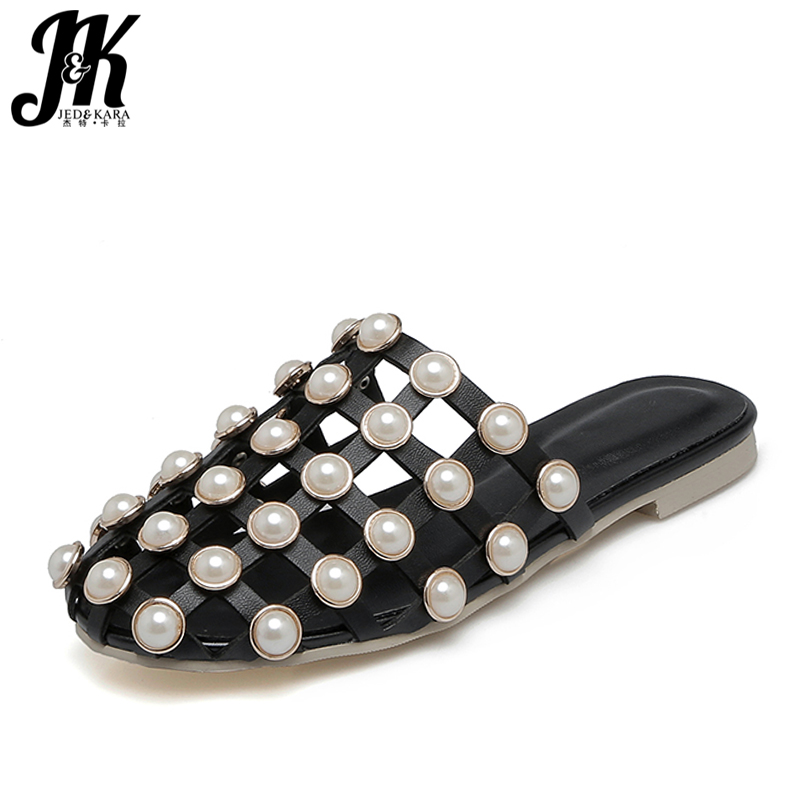 JK Big Size 34-43 2018 Summer Bead Charm Cutout Slippers Women Shoes Casual Flat Sole Round toe Mules Shoes Woman Slides