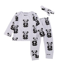 Newborn Baby Fashion Long Sleeve  Lovely Boys Girls Cotton T-shirt Tops + Pants +Head Accessories 3 Pcs Clothing Sets