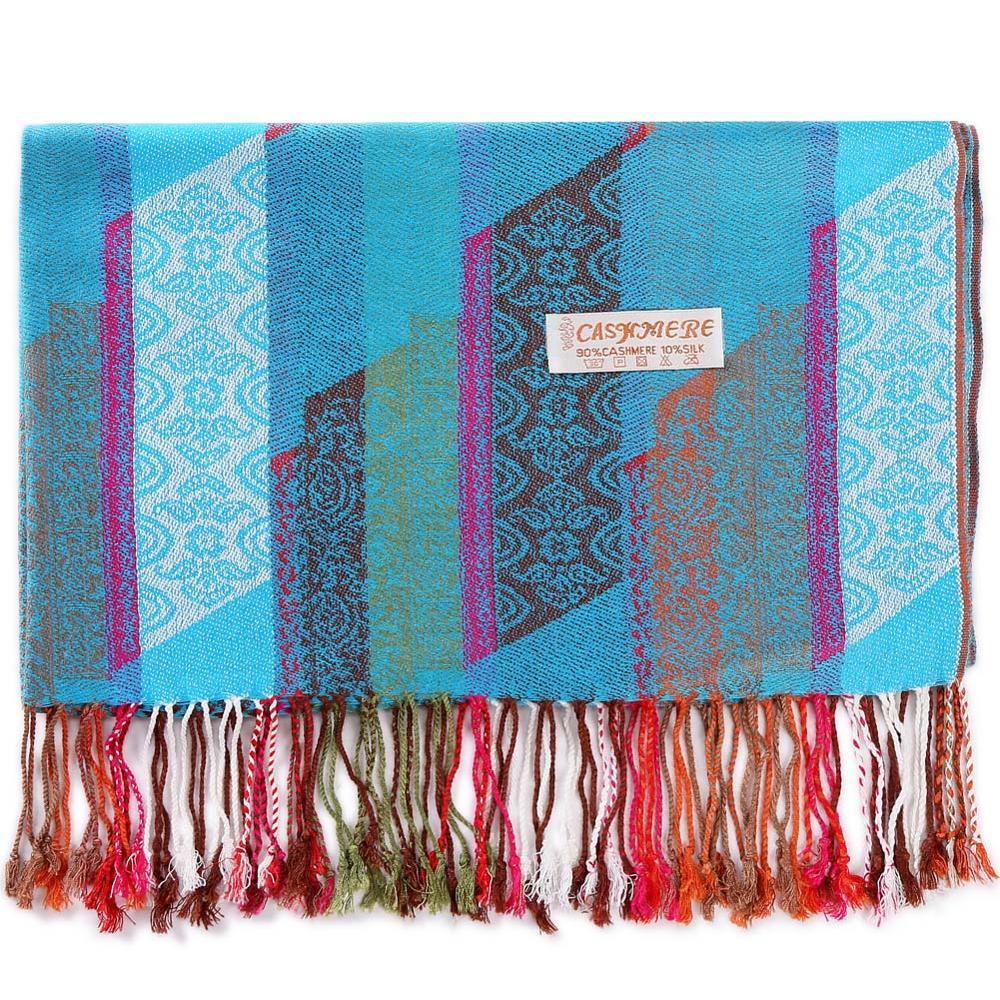 Pashmina Silk Shawl Paisley Stripes Scarf Wrap Hijab Stole Autumn Spring Winter Soft Long Gift Cashmere Warm Top Quality Skyblue