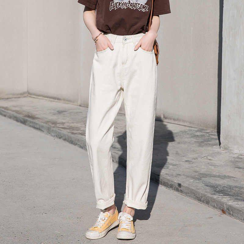 244124545f2b Fall White Mom Jeans Vintage High Waisted Wide Leg Jeans Women Cropped  Baggy Straight Leg Jeans