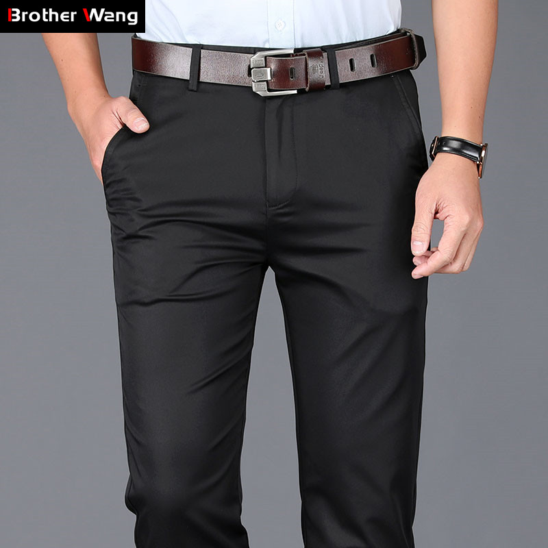 Summer Men's Thin Casual Pants 2019 New Classic Slim Fit Small Straight Elastic Solid Color Brand Trousers Black Khaki Navy