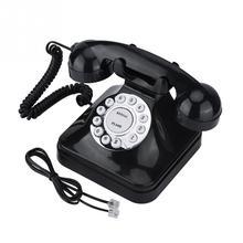 WX-3011 Teléfono de plástico multifunción Vintage negro Retro Teléfono de línea fija