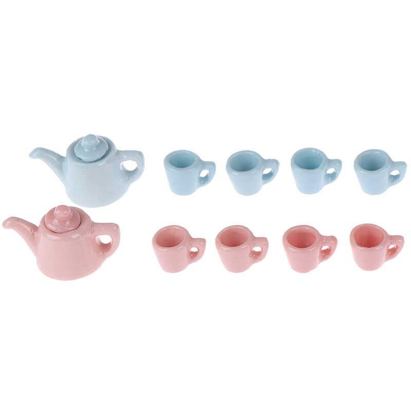5 шт./компл. керамические весы 1:12 миниатюрный современный фарфор чайная чашка набор посуды Кухня кукольный домик чайник сплошной цвет