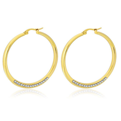 MxGxFam Titanium steel Crytals Circle Hoop Earrings (1pair) For Fashion Women Jewelry Hot 18 K / White Gold Color