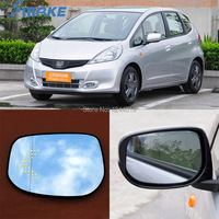 smRKE For Honda Fit Car Rearview Mirror Wide Angle Hyperbola Blue Mirror Arrow LED Turning Signal Lights