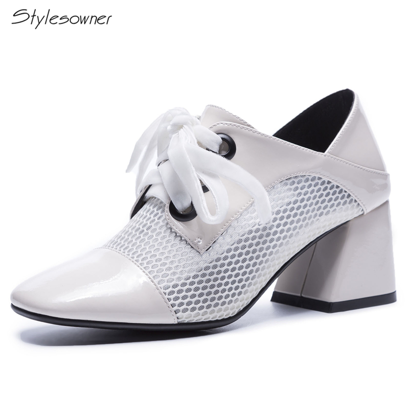 Stylesowner 2018 New Mesh Hole Square Toe Single Women Shoes Chunky High Heel Pumps Women Lace Up Shoes Causal Mules Laces Shoes