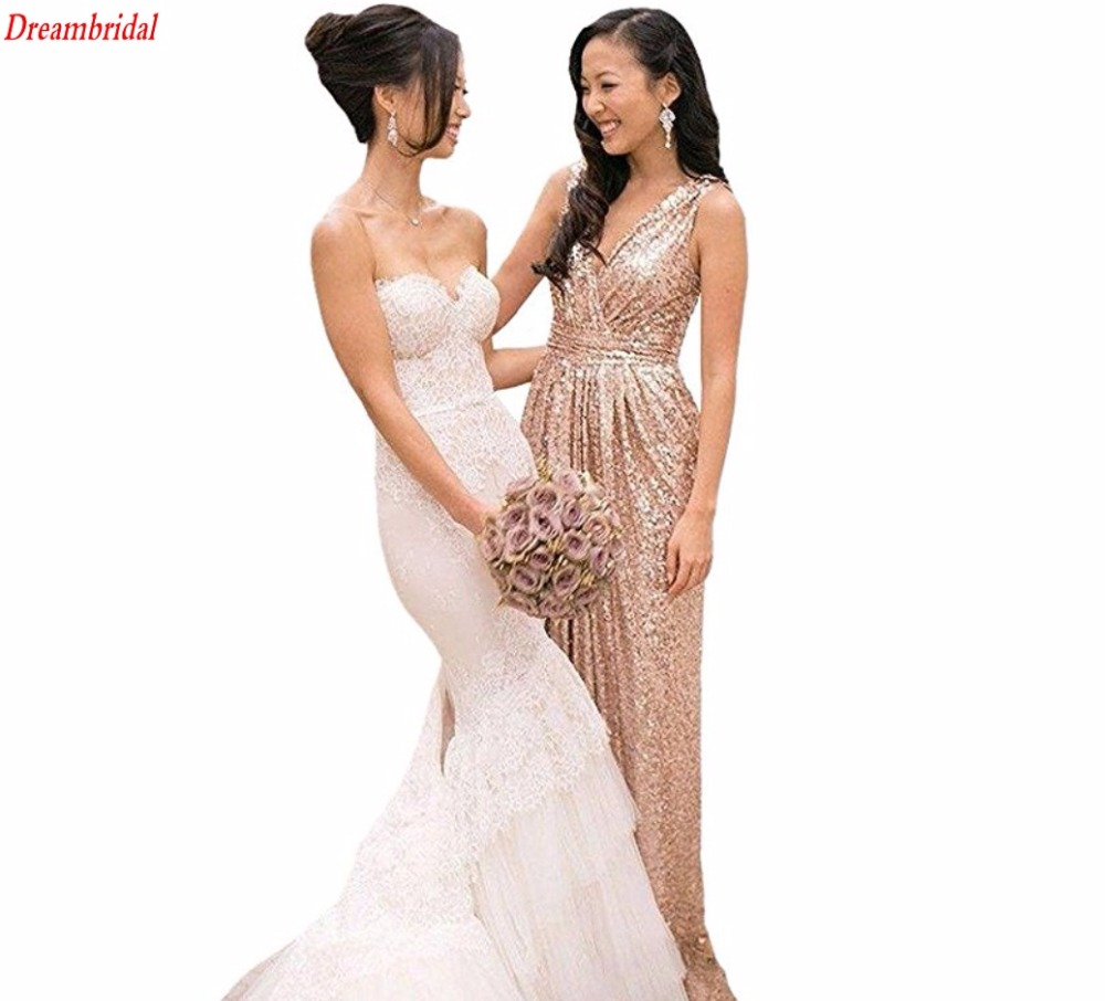 Online buy wholesale gold bridesmaid dress from china gold dreambridal hot sale gold bridesmaid dresses 2017 for wedding party sequins long gold sequins dress vestido ombrellifo Choice Image