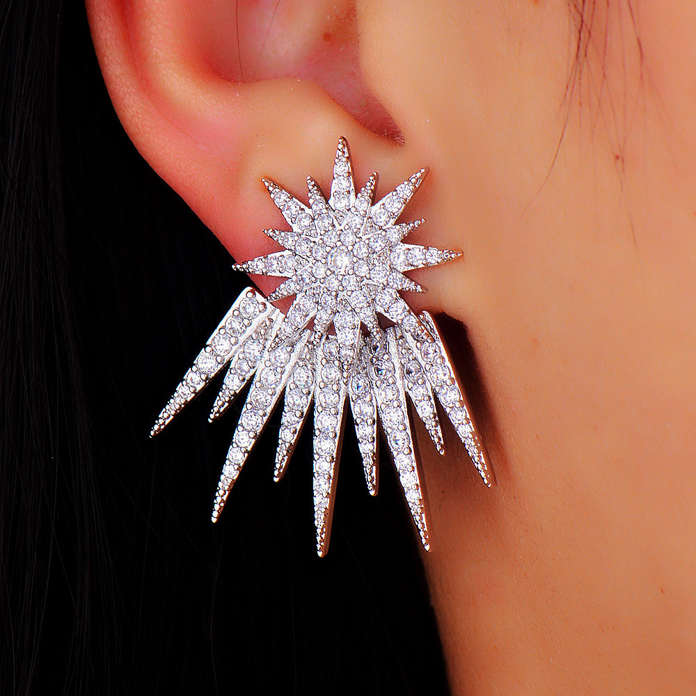 GODKI Costume Jewelry Rhodium Plated Star Shaped Stud Earrings For Women Hot Cubic Zircon Crystal Ear Jacket For Women starry pattern gold plated alloy rhinestone stud earrings for women pink pair
