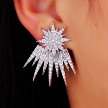 GODKI Costume Jewelry Rhodium Plated Star Shaped Stud Earrings For Women Hot Cubic Zircon Crystal Ear Jacket For Women