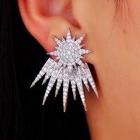 GODKI Modeschmuck Rhodium Überzogene Sternförmige Ohrstecker Für Frauen Heißer Kubikzircon Kristall Ohr Jacke Für Frauen