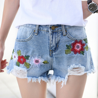 plus size embroidery denim shorts women 2018 Summer high waist jean short spodenki damskie bermuda feminino pantalon corto mujer