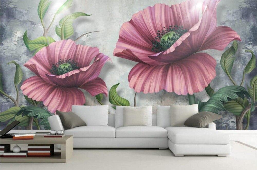 3D Hand-painted flowers Custom Photo Wallpaper papel de parede do desktop for Living Room Home Decoration