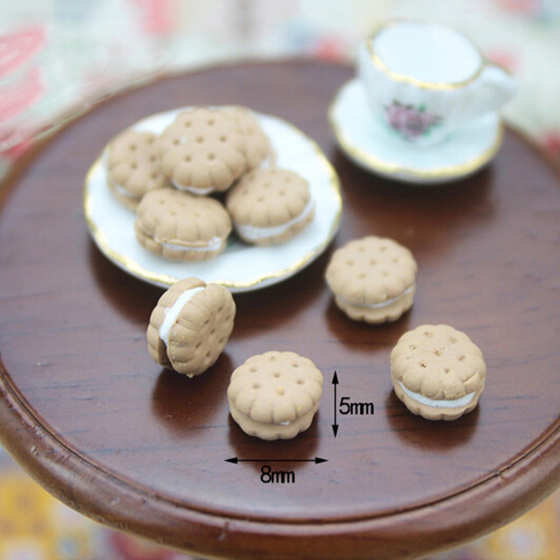 1/12 Dollhouse Miniature Accessories Sandwich Biscuit Simulation Food Dessert Model Toys For Doll House Furniture Decor 9pcs/lot