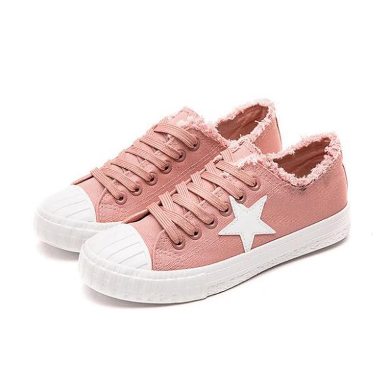 3b1bdc77 Canvas Vulcanizar Zapatos gris Slip rosado Rosa Blanca Planos Señora Mujer  Moda Zapatillas Casual blanco Tenis Feminino Negro Estrella Mujeres ...