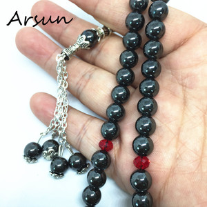 Image 2 - を 100% オリジナルナチュラルヘマタイトストーンイスラム教徒 33 数珠イスラム Tasbih アッラーの祈りロザリオ Tesbih イスラム Misbaha