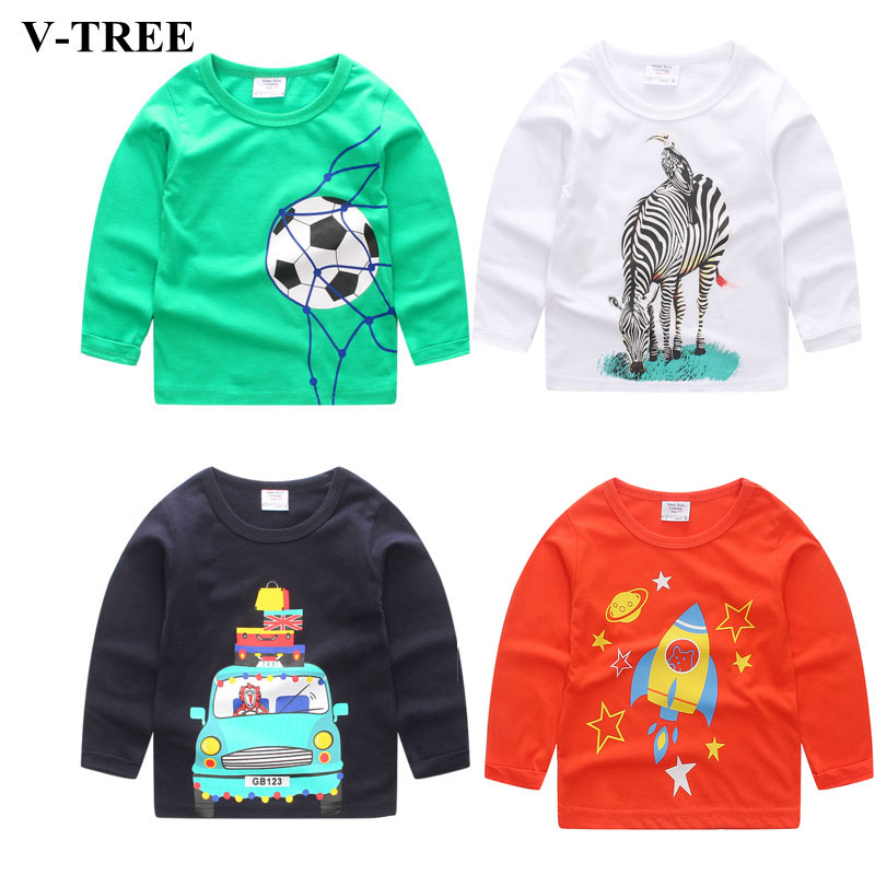 V-TREE Cartoon Girls T Shirt Cotton T-shirt For Boys Children Tees 2017 Autumn Kids Shirts Baby Sweatshirt Tops