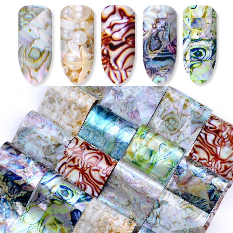 16Pcs Shell Abalone Nail Art Sticker Gradient Mermaid Flakes Nail Foil Decal Decor Nail Art Water Transfer Stickers Decals in Stickers Decals from Beauty Health