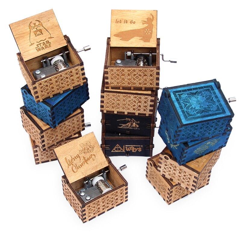 Di Music box di Legno Citazione Hedwigs A Tema Musicale Regalo stella guerra caja musicale musica regalo Di Natale box