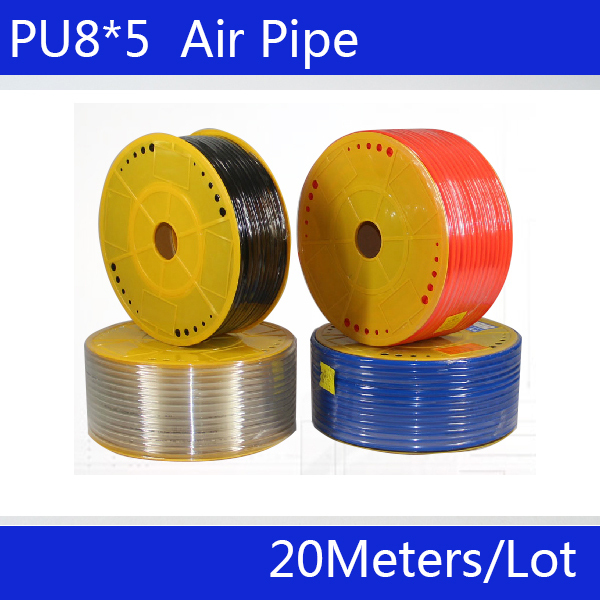 Free shipping Pneumatic parts 8mm PU Pipe 20M/lot for air pneumatic hose air hose 8*5 Compressor hose luchtslang