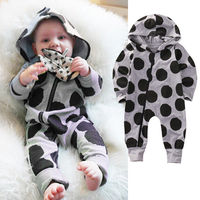 UK Newborn Infant Baby Boys Girls Romper Long Sleeve Warm Clothes Hooded Jumpsuit Zipper Clothes Outfit
