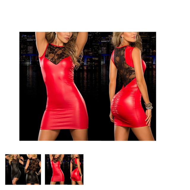 Red Black Sexy Lace Mini Dress Wet Look Fetish Bondage Vinyl