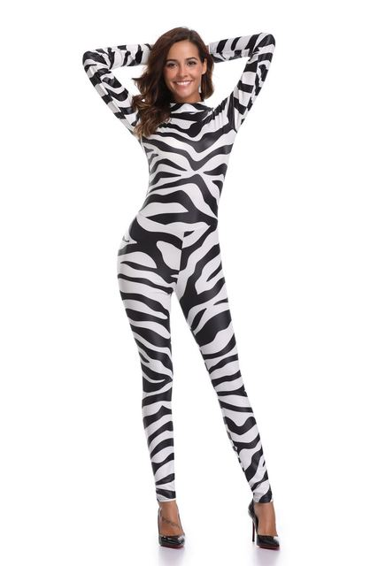 8ae2fe46149f Sexy Halloween zebra Print Catsuit Party Fancy Dress Jumpsuit playsuit  SM1845