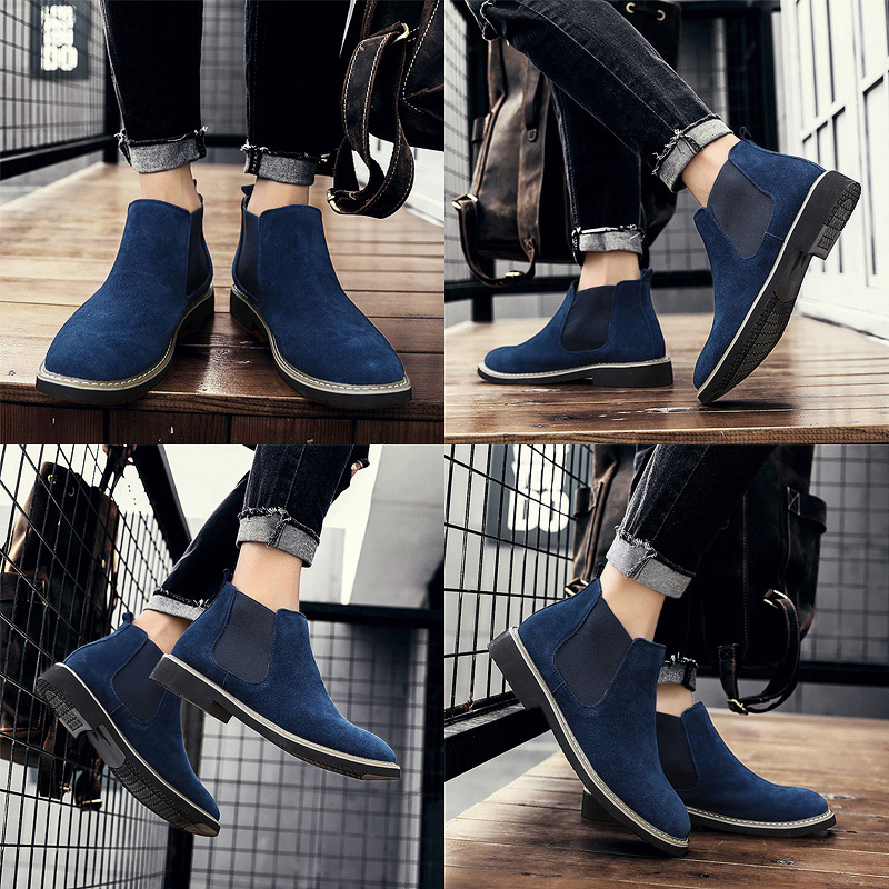 New Chelsea Boots Men's Boots Cow Suede English Dress Shoes Male Motorcycle Winter Work Wedding Sneakers Casual Cowboy Size 45