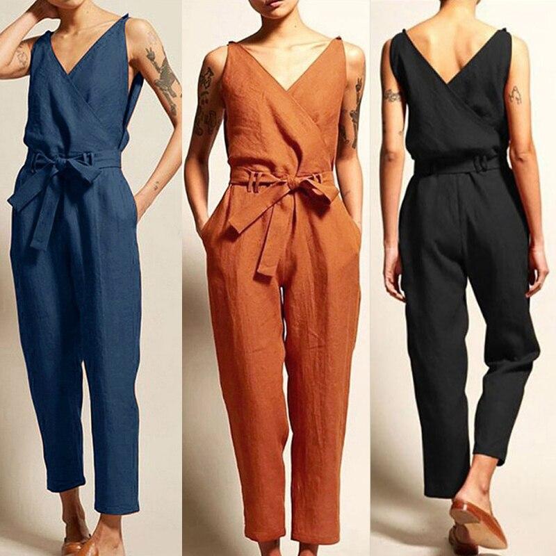 Monos holgados sin mangas con cinturón overol de gran tamaño para mujer mono de verano Pantalones largos Casual Tallas grandes Vintage