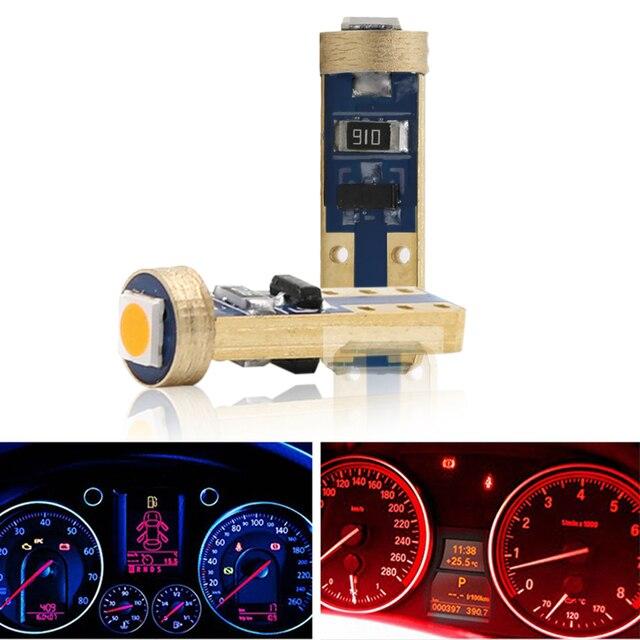 10PCS T5 58 74 286 W1.2W 3030 LED Wedge Dashboard Gauge Lamps Car Newest Warning Indicator Instrument Cluster Lights Bulb