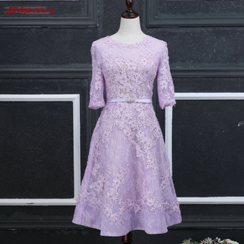 Short Long Sleeve Lace Cocktail Dresses Womens Prom Coctail Dress for Party jurk vestidos de coctel renda