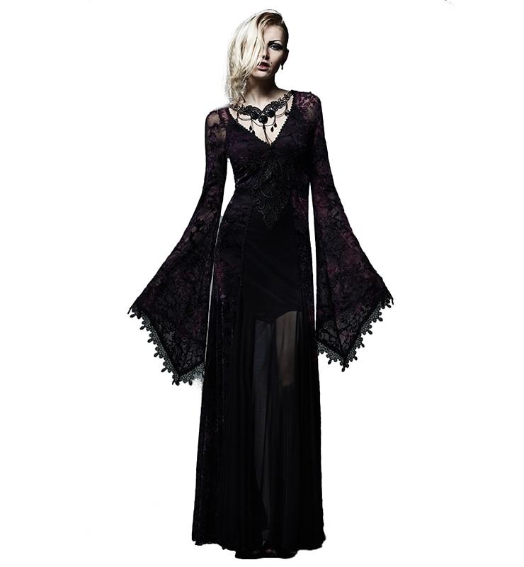 Punk gothique élégant noir & Violet cheville longueur robe Noble Flare robe col en v longue robe avec dentelle-in Robes from Mode Femme et Accessoires    1