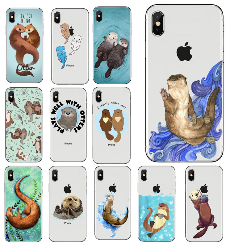 Otters Holding Hands Case For iPhone5S SE 6 6S 6Plus 6SPlus 7 7Plus 8 8Plus X Otter sloth luxury Soft silicone Protective sleeve