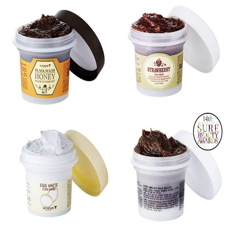 Skin food Black Sugar / Honey / Strawberry / egg pore Wash Off Mask / Face Mask Korean Face Masks (100g) skinfood black sugar strawberry маска смываемая для лица black sugar strawberry маска смываемая для лица