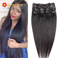 Remy Virgin Brazilian Hair Clip In Extensions 120G Clip In Brazilian Hair Extensions 1B Black Clip In Human Hair Extensions 100G