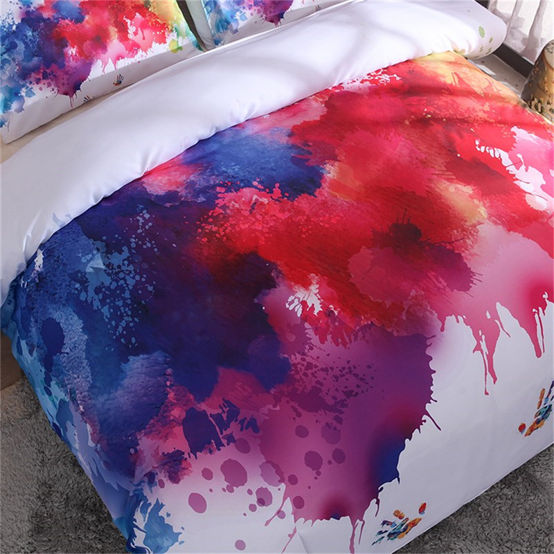 Image 2 - Colorful Bedding Set Watercolor splash Quality Cover Home King Queen Size Soft White Duvet Cover and Pillowcase-in Duvet Cover from Home & Garden