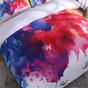 Image 2 - LOVINSUNSHINE Colorful Bedding Set Watercolor splash Quality Cover King Queen Size Soft White Duvet Cover and Pillowcase aa99#
