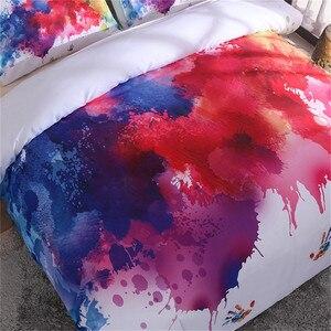 Image 2 - LOVINSUNSHINE ensemble de literie coloré aquarelle splash qualité couverture roi reine taille doux blanc housse de couette et taie doreiller aa99 #