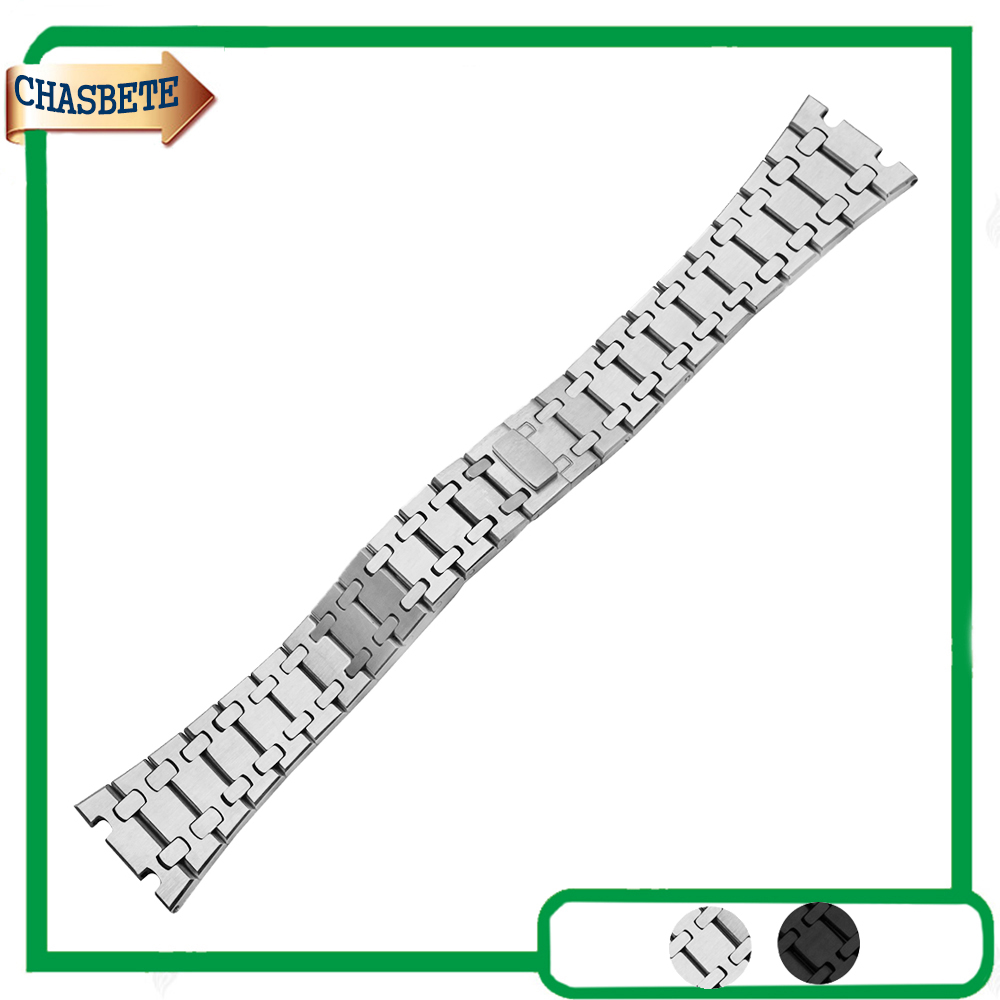 Stainless Steel Watch Band For AP Watchband 23mm Men Women Butterfly Clasp Metal Strap Belt Wrist Loop Bracelet Silver stainless steel watch band for ap watchband 23mm men women butterfly clasp metal strap belt wrist loop bracelet silver
